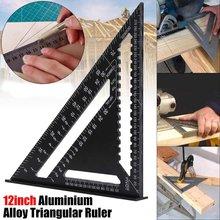 Esquadrados métricos de liga de alumínio, 12 polegadas, velocidade, praças triangulares, para ferramenta de medição, ângulo métrico, transferidor, ferramentas para trabalhos em madeira