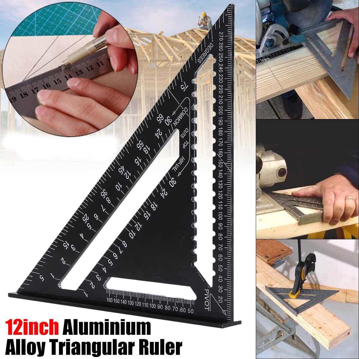 Regla cuadrada de aleación de aluminio de 12 pulgadas, cuadrada, cuadrada, para medir herramientas, ángulo métrico, transportador, herramientas de carpintería