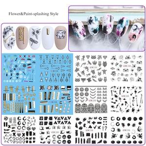 Image 5 - 36 個ミックスレター黒スライダー爪ステッカーセット混合の花の水転写デカールマニキュアの装飾のヒントラップ CH974
