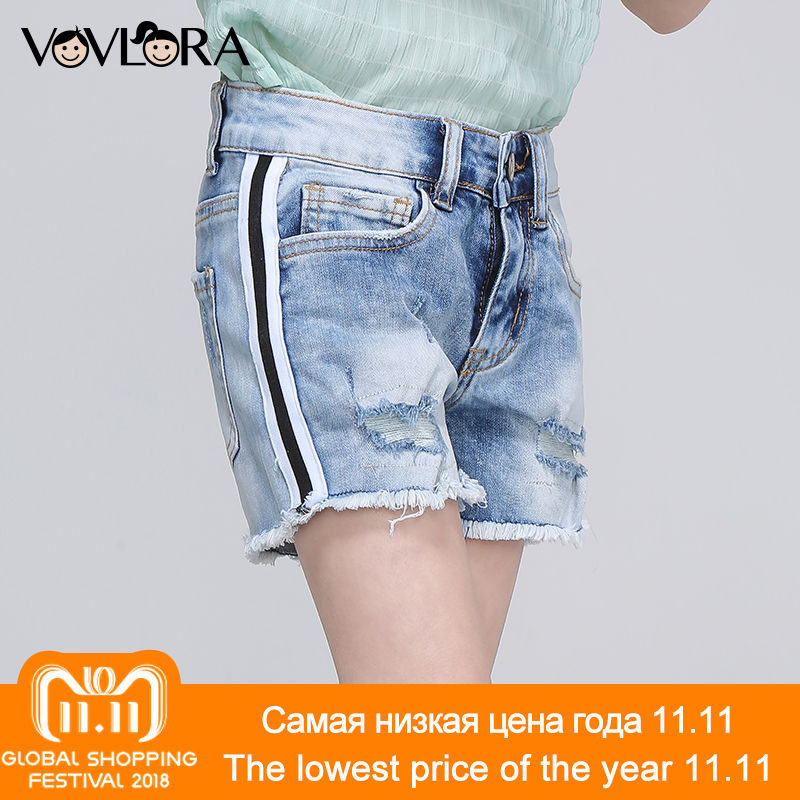Denim Shorts Girls Side Stripe Ripped Hole Summer Shorts Kids Packet Burr Solid Clothes Casual 2018 Size 9 10 11 12 13 14 Years eemrke led daytime running lights for mitsubishi grandis cob angel eye drl halogen h11 55w fog light