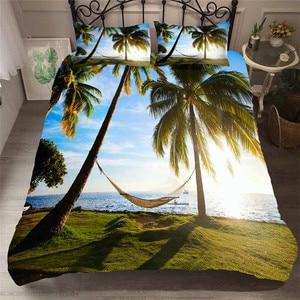 Image 1 - Juego de cama con funda de edredón estampada en 3D, Textiles para el hogar, playa, árbol de coco, para adultos, ropa de cama realista con funda de almohada # HL13