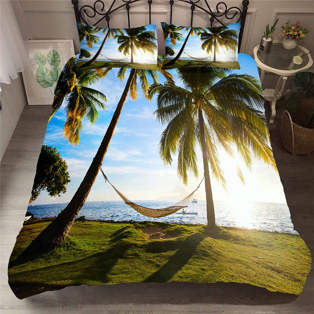 Juego de cama con funda de edredón estampada en 3D, Textiles para el hogar, playa, árbol de coco, para adultos, ropa de cama realista con funda de almohada # HL13