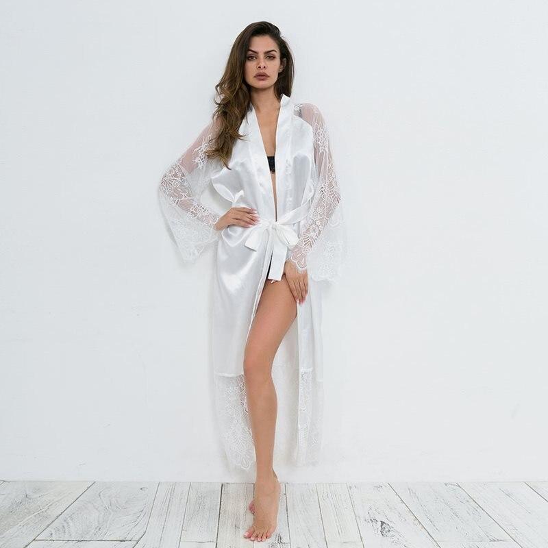 d16d207d0b Lace Sleepwear Robes Women Satin Sexy Bathrobe Underwear Lace Up See  Through Flare Sleeve White Elegant