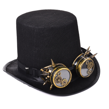 Steampunk Men Women Steampunk Top Hat Gears Spike Goggles Cosplay Costume Gothic Hat Black  1