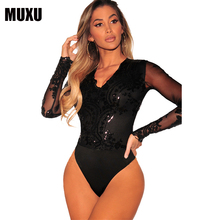 MUXU black sequin glitter bodysuit jumpsuit macacao feminino body women rompers womens jumpsuits combinaison femme 2019 mujer