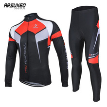 ARSUXEO Mens Cycling Jersey Set Uniform Quick Drying Bike Clothes Printing Breathable Long Sleeve