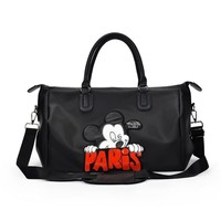 2018 Ladies Black Travel Organizer Bag Cartoon Pattern Large Capacity Carry On Luggage Waterproof Weekend Big Duffle Bags
