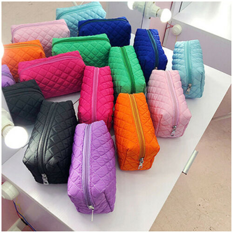 2019 New Women Multifunction Travel Cosmetic Bag Makeup Case Pouch Toiletry Organizer Solid 6 Colors Plaid Bag