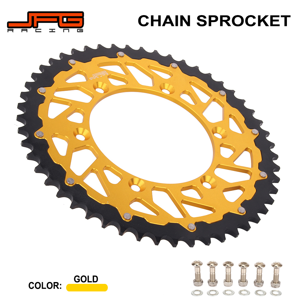 Motorcycle Steel Aluminium 42 - 52 T Rear Sprocket For SUZUKI DRZ250 DRZ400 RM125 RM250 RMX250 RMX450Z RMZ250 RMZ450 DR250 DR350Motorcycle Steel Aluminium 42 - 52 T Rear Sprocket For SUZUKI DRZ250 DRZ400 RM125 RM250 RMX250 RMX450Z RMZ250 RMZ450 DR250 DR350