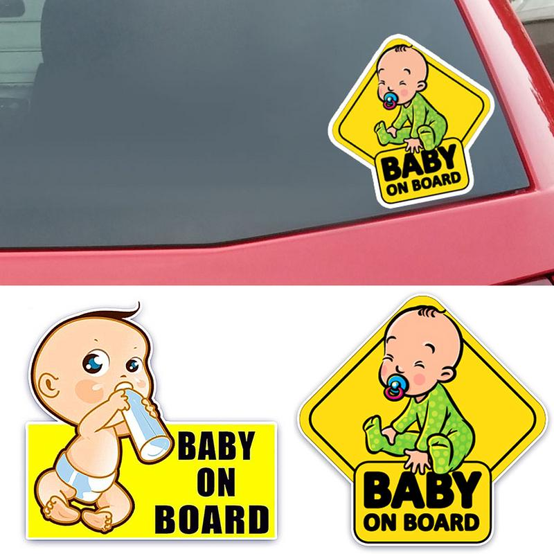 14x14 BABY ON BOARD Car Sticker Lovely Cartoon Baby Drinking Milk Waterproof Sunscreen Pattern Color Reflective Warning Sticker in Car Stickers from Automobiles Motorcycles