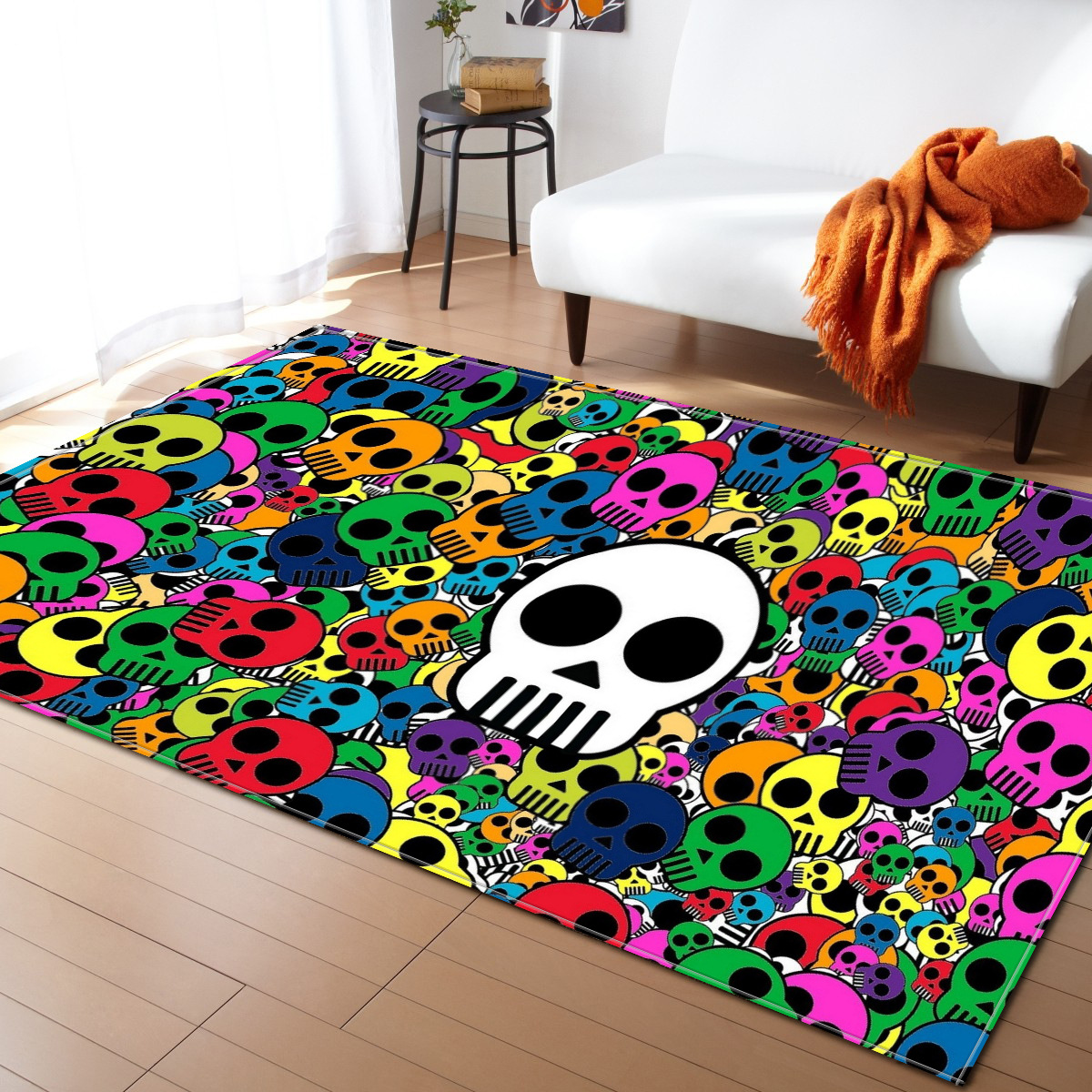 Us 35 0 30 Off Skull Printed Rugs Kids Room Play Carpet Baby Crawl Mats Flannel Carpets For Living Party Decor Area Rug In
