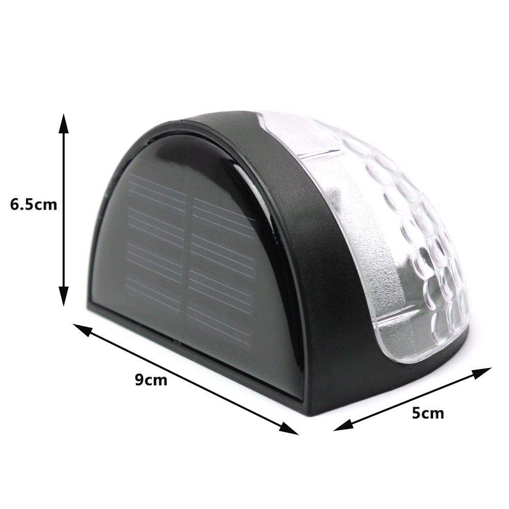 0 3W 6 Led Solar Power Auto Charging Light Outdoor Waterproof Lamp Fence Wall Lamp Garden Landscape Path Light Black in Wall Lamps from Lights Lighting
