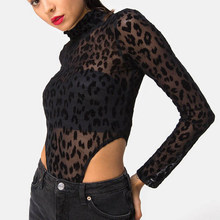 5e92f2f78ac7 Sexy See Through Lace Bodysuits Woman Animal Print Romper Tops Female  Fashion Clubwear Body Suit Beach Overalls Leopard Printed