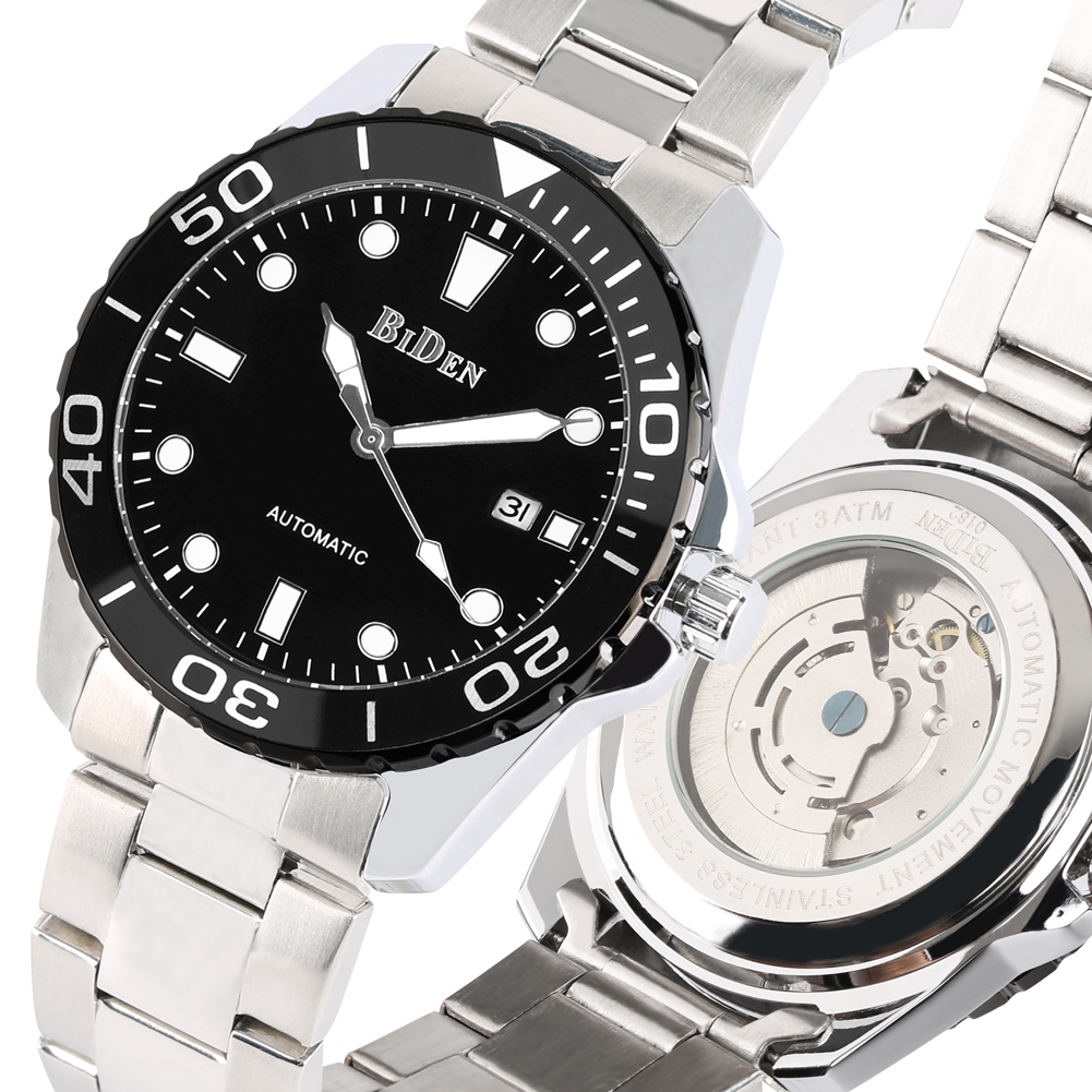 Automatic-self-winding Mechanical Watches Calendar Function Mechanical Watch Stainless Steel Band  Business Style Clock relojAutomatic-self-winding Mechanical Watches Calendar Function Mechanical Watch Stainless Steel Band  Business Style Clock reloj
