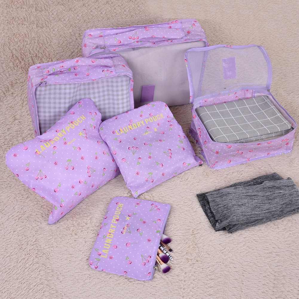 Bolsa de almacenamiento de viaje impermeable 6 piezas bolsa de almacenamiento plegable Organizadores de ropa Oxford bolsa de almacenamiento impermeable bolsa de cosméticos