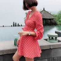 100% шелковое Креповое мини платье Kate Rust Spot с глубоким v образным вырезом и завышенной талией, с рукавами колокольчиками, в горошек, Двухслойно