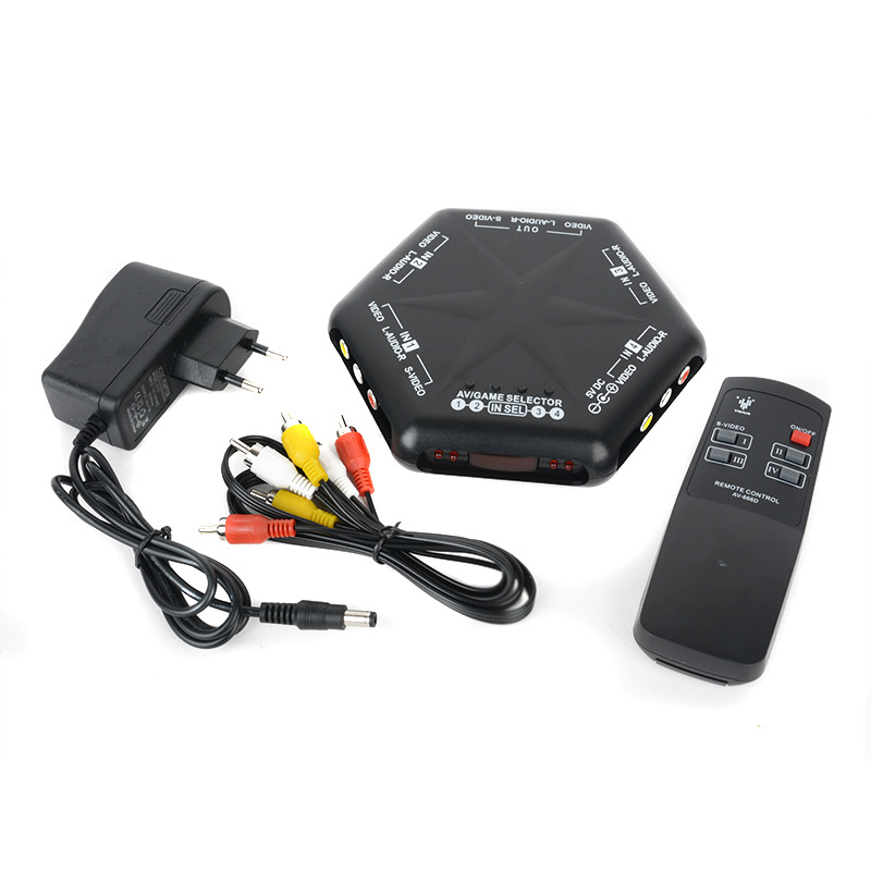 Pohiks 4 in 1 out AV <font><b>Switch</b></font> Plastic Black S-Video Video Audio Game <font><b>RCA</b></font> AV <font><b>Switch</b></font> Box Selector Splitter+<font><b>Remote</b></font> 14.3x14.3x2.2cm image