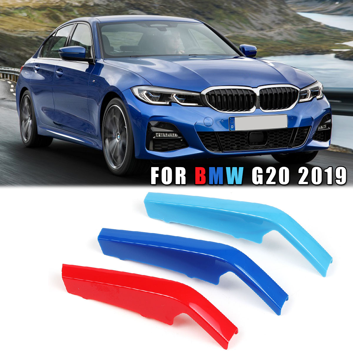8Bar 3D Sticker Front Kidney Grill Grille Cover Clip Trim M-Color 3 Colors Exterior Accessories For BMW 3-series G20 2019 image