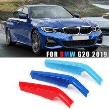 8Bar 3D Sticker Front Rene Griglia Della Griglia di Copertura Trim Clip M-Colore 3 Colori Accessori Esterni Per BMW 3 -serie G20 2019