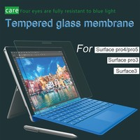 Tempered glass membrane screen Film For Microsoft Surface Pro 3 4 5 laptop Tablet HD anti fingerprint Explosion proof.
