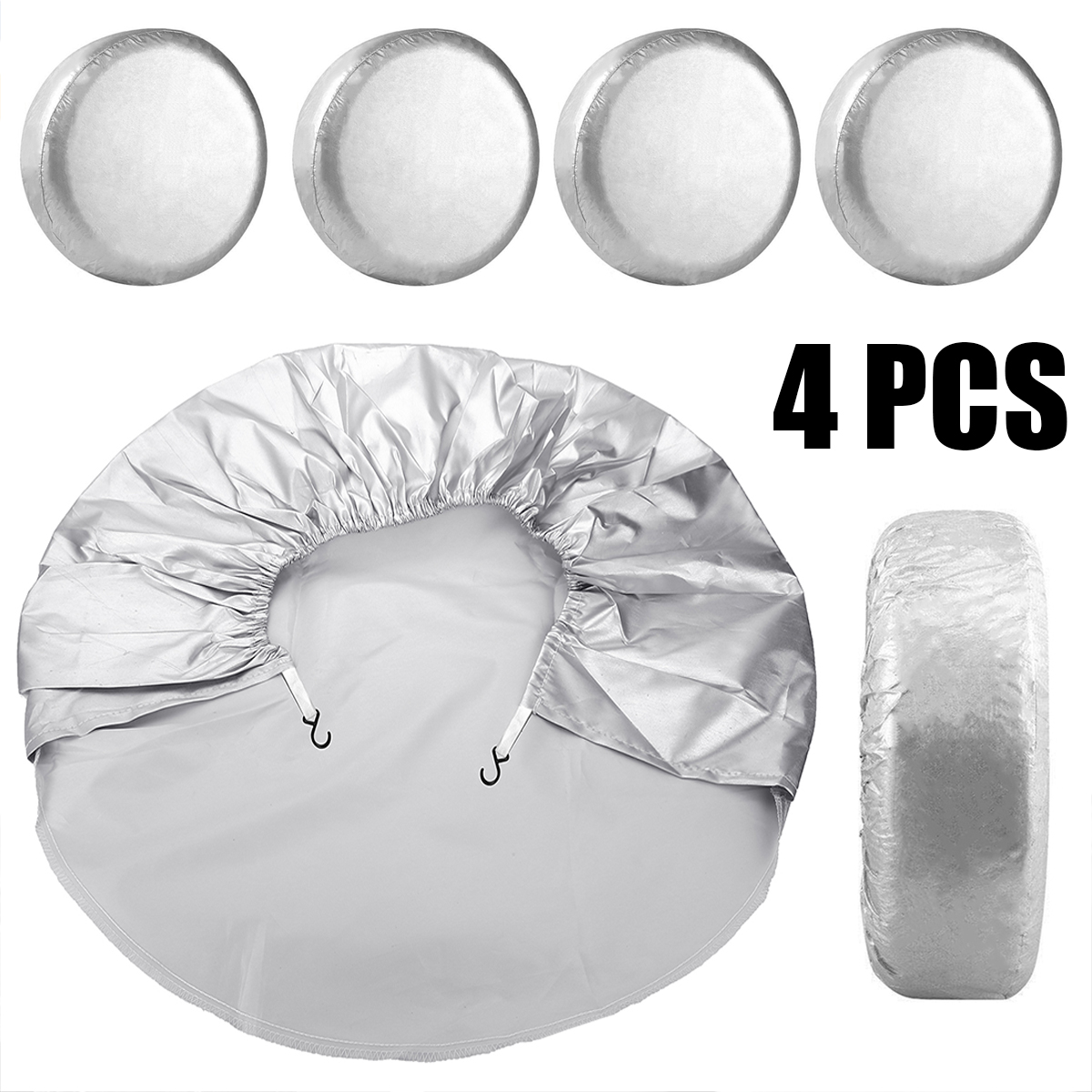 4PCS Waterproof Dustproof Car Wheel Tire Cover Bag For Auto Truck Trailer RV Camper Motorhome Tyre Cover Silver