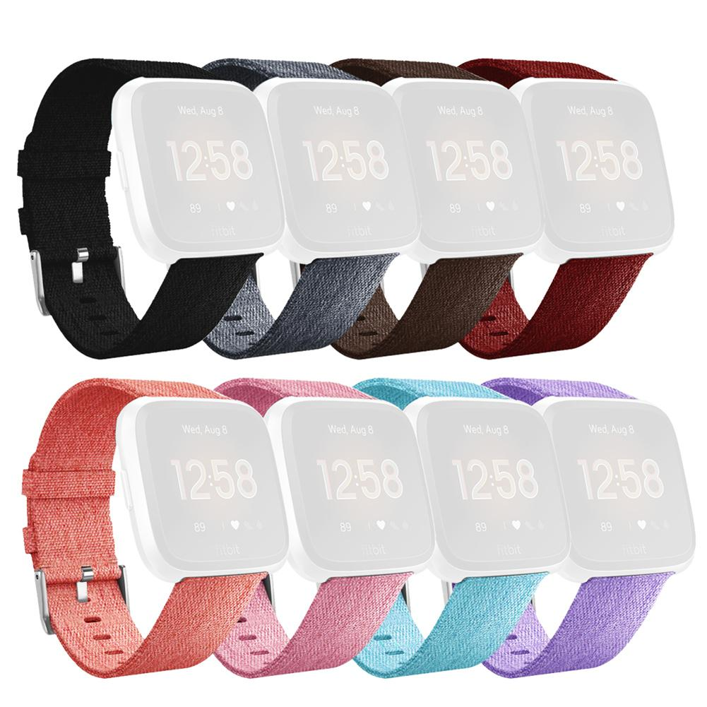 Image 4 - Bracelet Replacement Wristband Watch Band Premium Canvas Strap Clasp For Fitbit Versa Fitbit Versa Lite Smartwatch High Quality-in Smart Accessories from Consumer Electronics