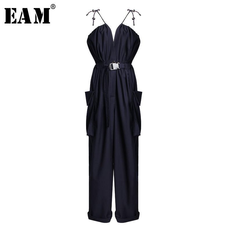 EAM 2019 New Spring Summer High Waist Pocket Bandage Stitch Two Ways Wear Loose Wide