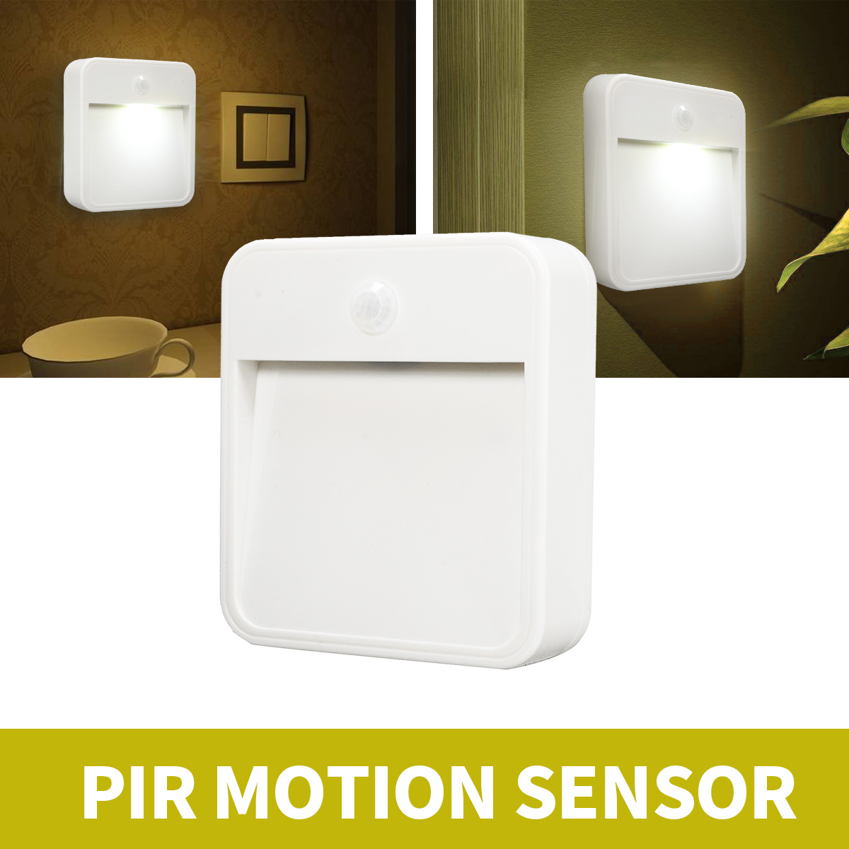 Battery Operated PIR Body Motion Sensor LED Night Light Square Wall Plug in Night Lamp Home Bedroom Security Lighting