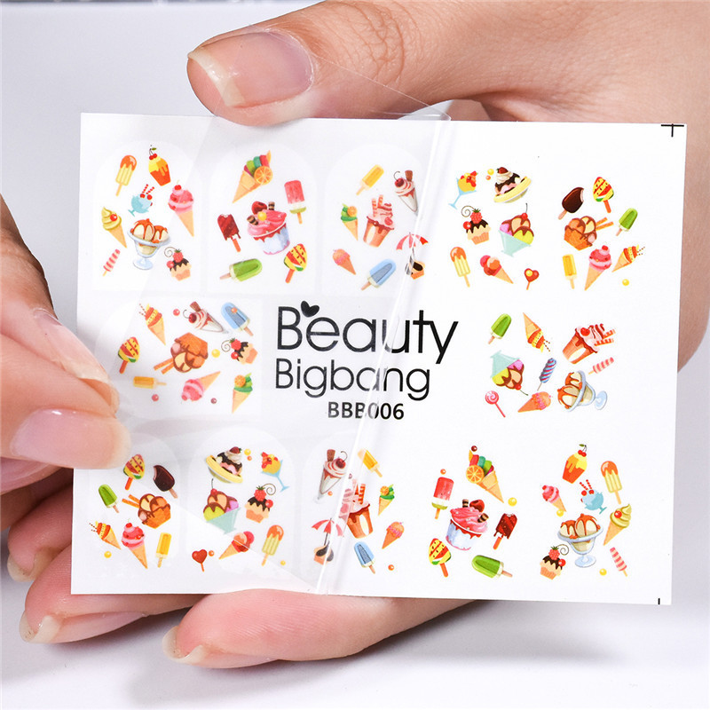 BeautyBigBang 1 Sheet Ice Cream Cake Image Nail Stickers Chocolate Design Manicure Nail Art Decoration Water Decals BBB006