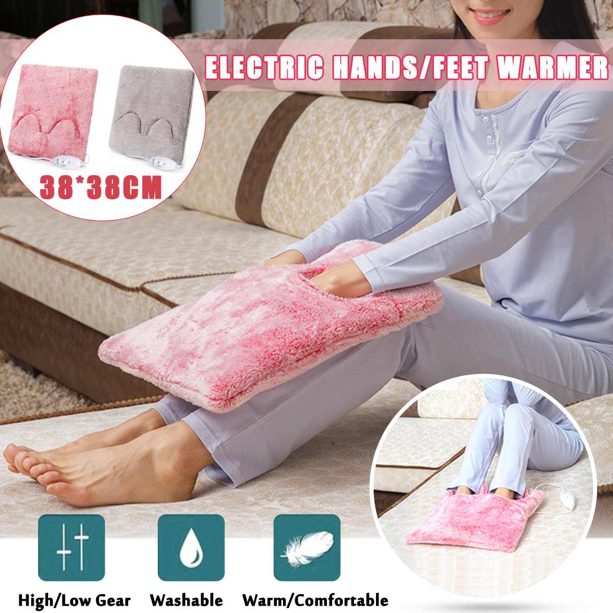 220V 20W Electric Heater Hands/Feet Warmer Pad Shoe Detachable Winter Stove Warming Slippers Seats Sofa Chair Warmer Cushion Mat