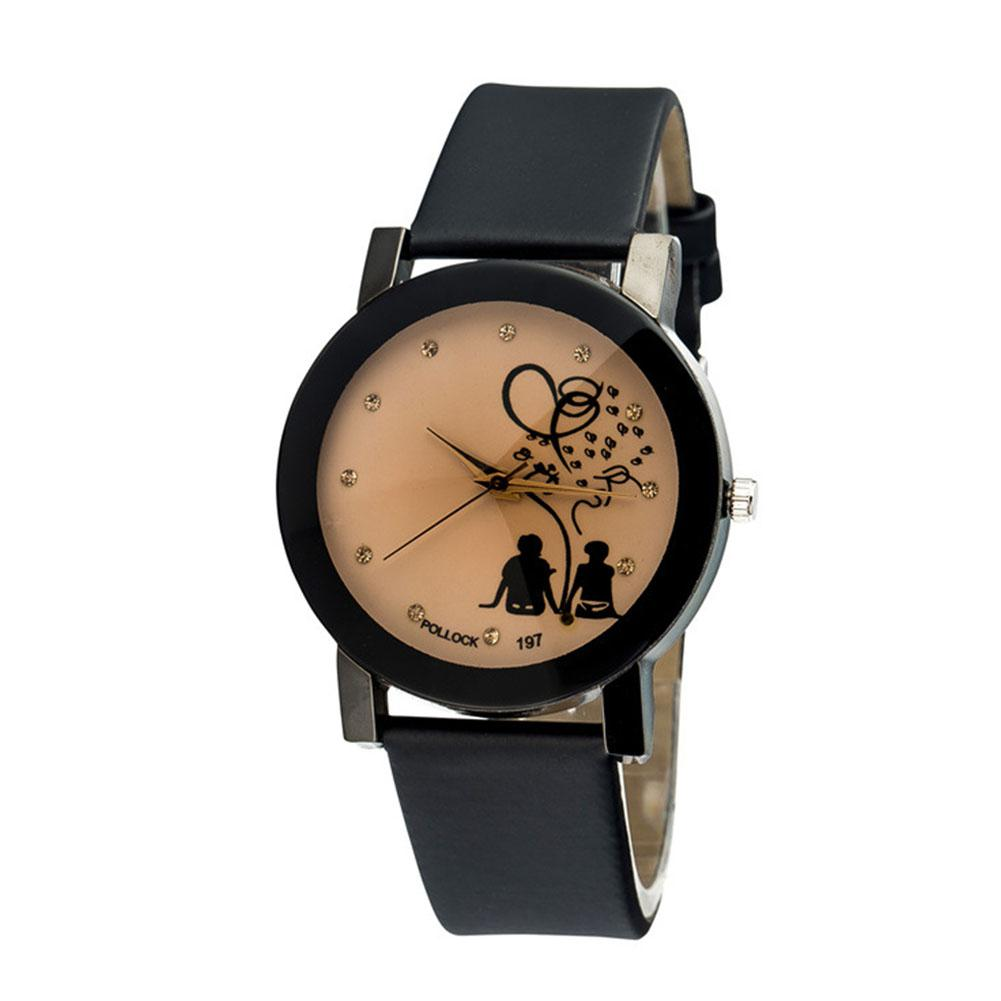 LinTimes Fashionable Lovers Back Profile Watch With Leather Band Quartz Wrist Watch Ornament Gift