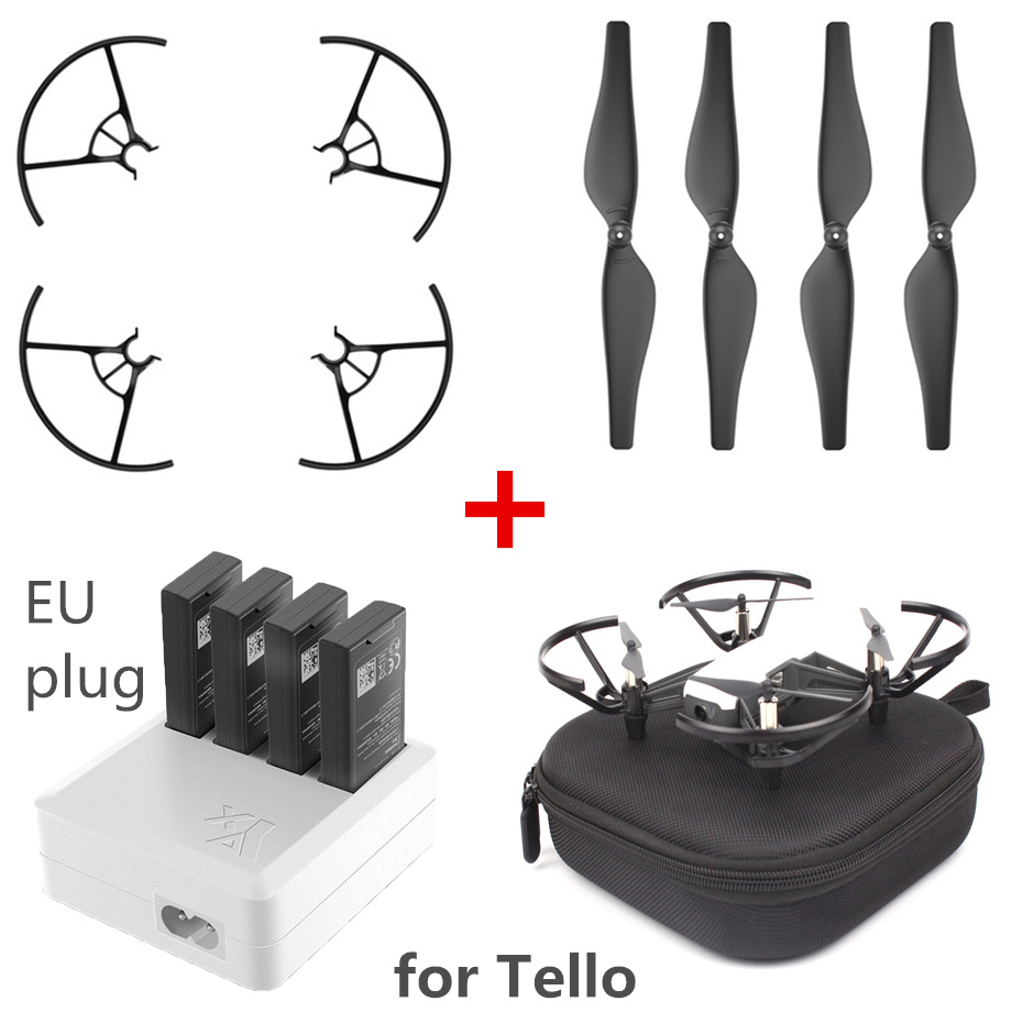 FORDJI Tello EVA Storage Case,4Pairs 3044P Quick-Release Propeller,Propellers Guard,3 in 1/4 in 1 Charger Hub,Charging USB Cable