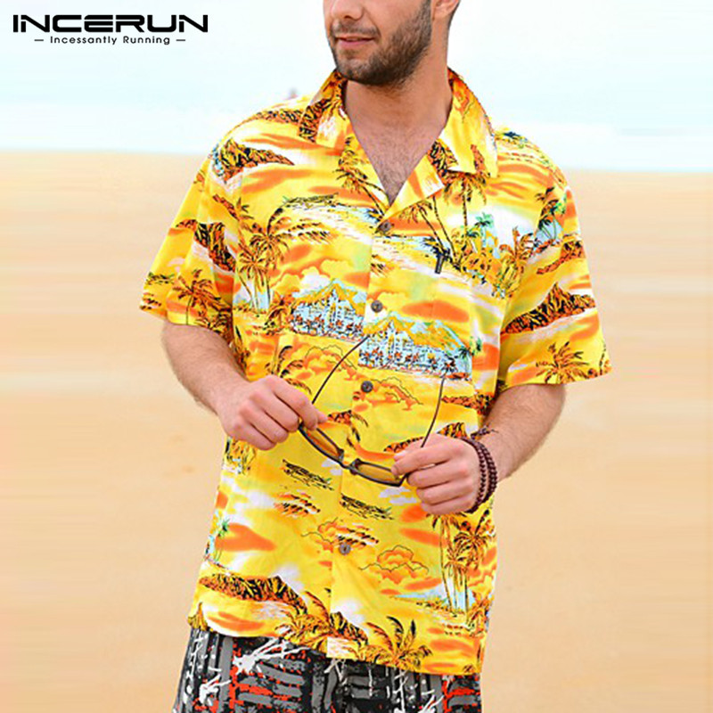 INCERUN Vacation Shirts 5XL Beach Hawaiian Yellow Mens Shirts Dress Short Sleeve Lapel Collar Loose Floral Summer Men Clothes