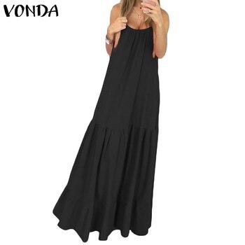 VONDA Bohemian Dress Women 2019 Summer Sexy Sleeveless Spaghetti Strap Ruffle Swings Maxi Long Dresses Holiday Vestido Plus Size 3