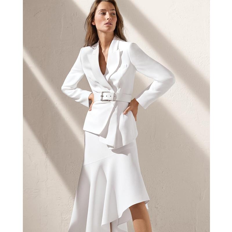 ชุดสำนักงานผู้หญิงแฟชั่นชุด 2 ชิ้นชุดฤดูหนาวชุดกระโปรงแขนยาวสีขาวแจ็คเก็ตเสื้อ + midi ไม่สมมาตรกระโปรง-ใน ชุดสตรี จาก เสื้อผ้าสตรี บน   1