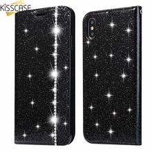 KISSCASE PU Leather Luxury Glitter Diamond-studded Holder Stand Phone Wallet Case For Samsung S8 S9 Plus Note 8 9 S7 Edge Covers