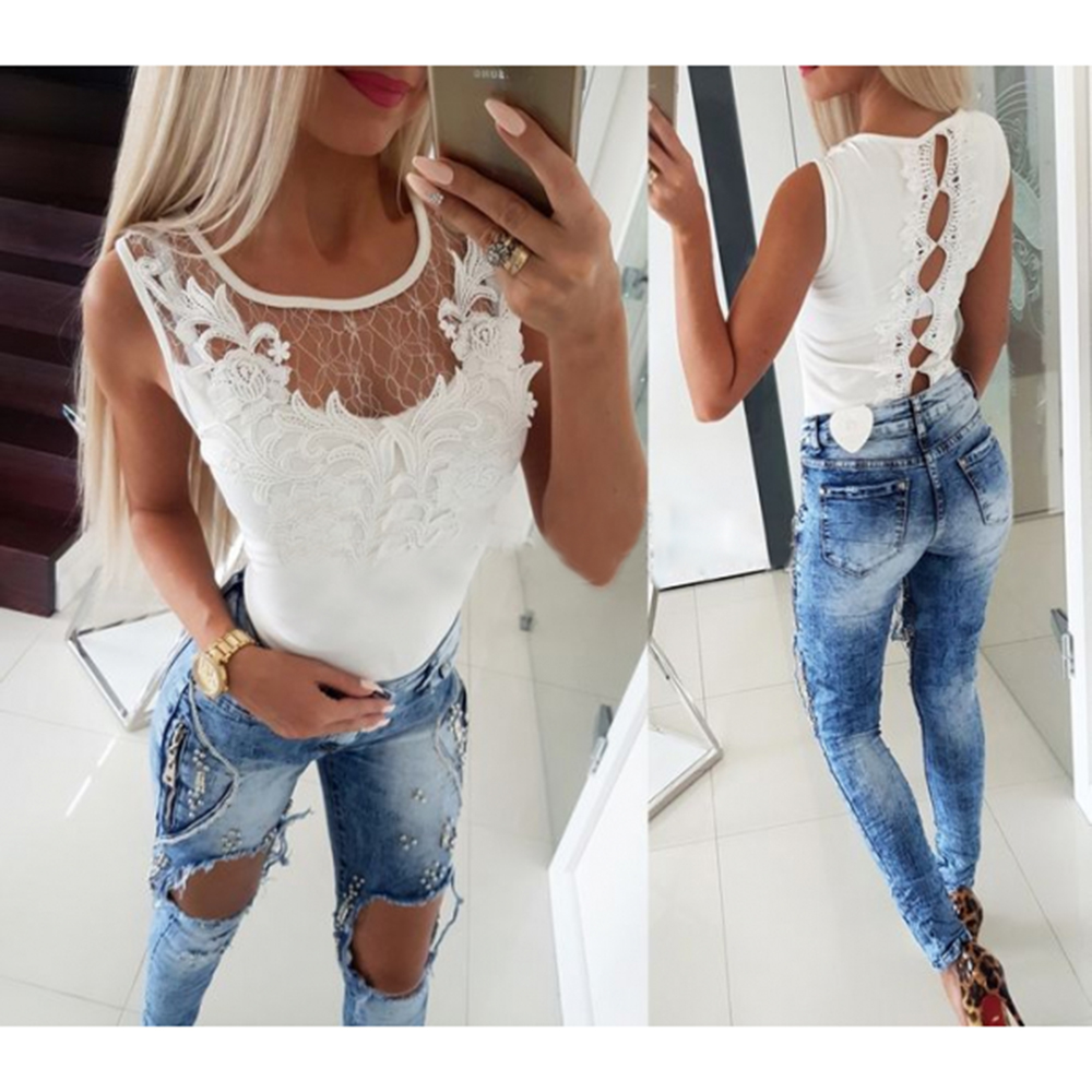 2019 Hot Selling Sexy Women Lace Patchwork Sleeveless Women   Tops   And Shirt   Tank     Tops