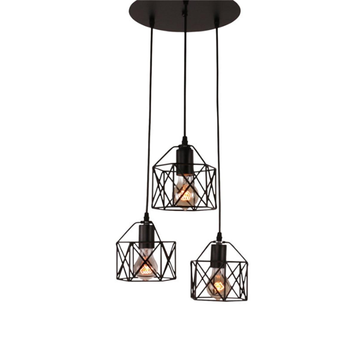 Bronze Antique HJXDtech 3 Way Ceiling Pendant Cluster Light Fitting Lights E27 Socket Hanging Light Industrial Ceiling Lights