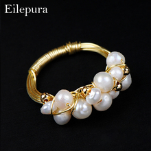 Eilepura Natural Fresh Water Baroque White Pearl Rings For Women Handmade Vintage Ring Fashion Cocktail Party Fine Jewellery