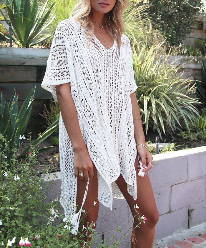 New Sexy Women's See-through Hollow Out Beachwear Bikini Cover-Ups Beach Wear Cover Up Kaftan Ladies Summer Swimwear Dress
