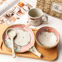 Original Hello Kitty Hand painted Ceramic Rice Bowl Cutlery Set Cute Cartoon Salad Bowl Plate Cutlery Creative Soup Spoon Mugs