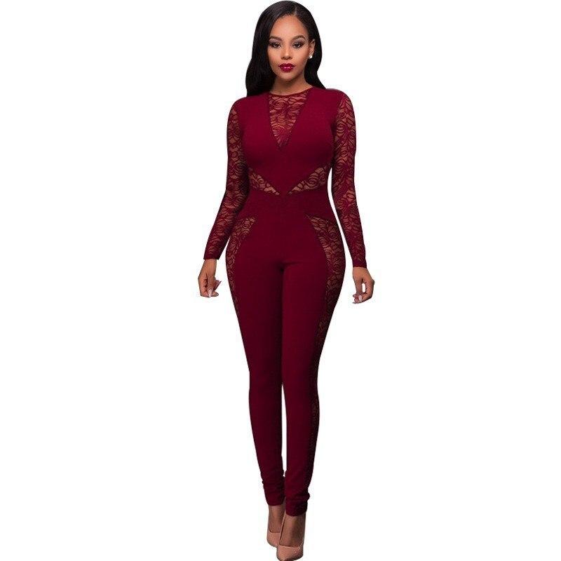 #1535 Lente/herfst Patchwork Lace Bodycon Jumpsuit Rood/blauw/zwart Lange Mouwen Sexy Jumpsuit Combinaison Pantalon Femme Elegante Voor Een Soepele Overdracht