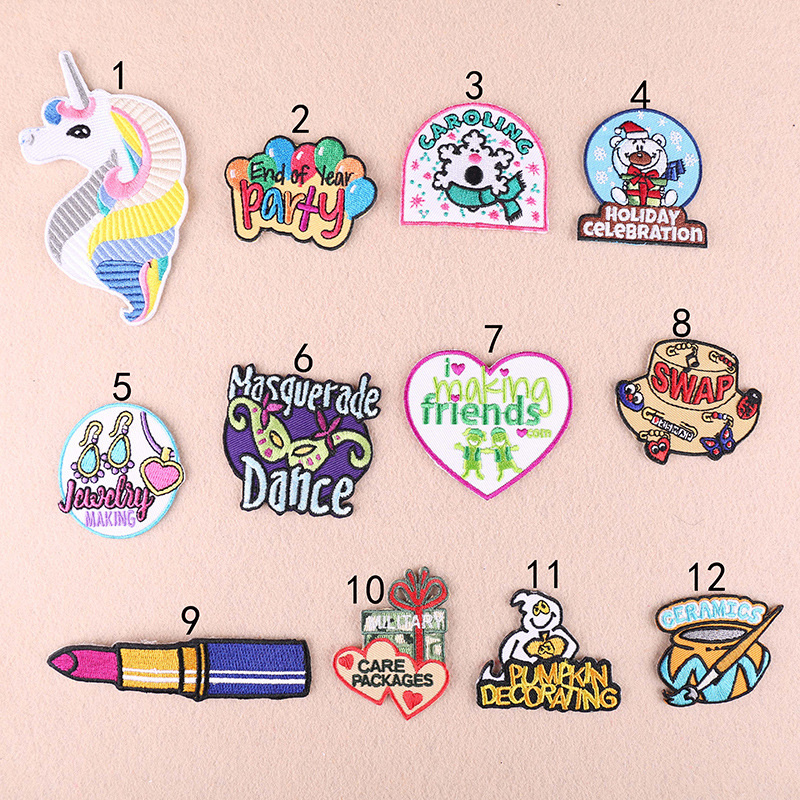 GUGUTREE embroidery unicorn bear patches letter patches badges applique patches for clothing YX 256 in Patches from Home Garden