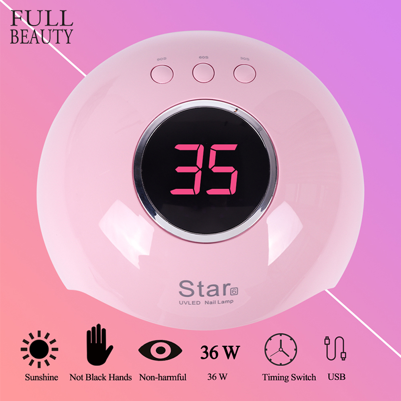 36W UV Lamp for Nail Drying Manicure 12 LEDs USB Pink Lacquer Gel Lamp With Infrared Sensing LCD Display Cured Nail Tool CHStar6