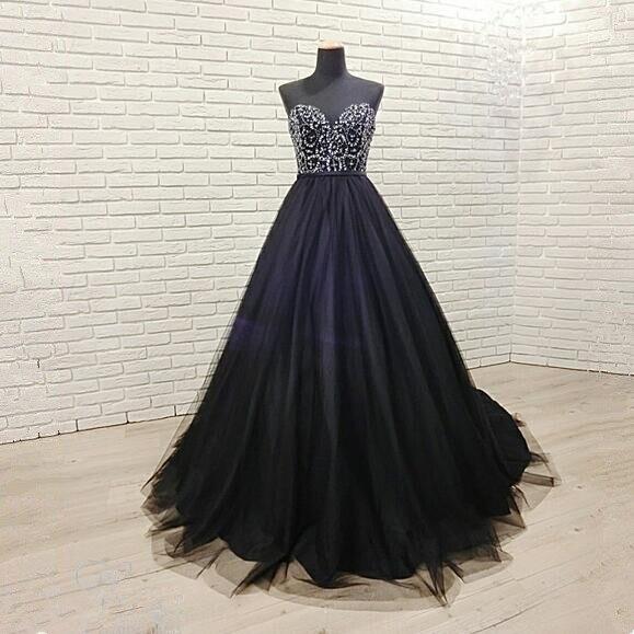 Sexy perles noires avec Train robe de soirée longue cristal Tulle robe de soirée formelle 2019