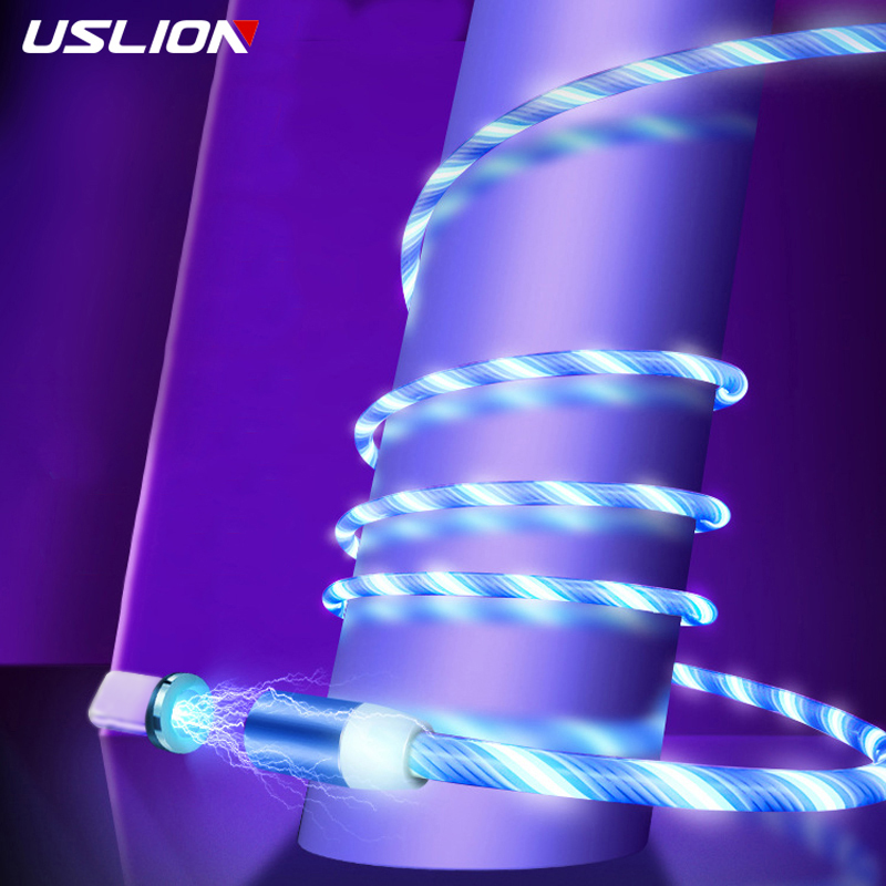 Mobile Phone Accessories Considerate Uslion Magnetic Flowing Light Cable Fast Charging Magnet Micro Usb Type C Cable For Samsung S9 S10 Led Wire Cord Type-c Charger Aromatic Character And Agreeable Taste