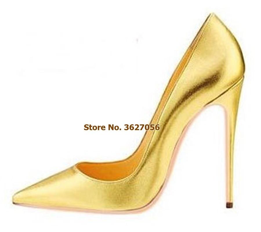 Punta Superficial Oro Las Zapatos as Picture Slip Tacones Cuero Patentes Tell 12cm As Boda Or 8cm Mujeres Bombas 12cm Lujo 10cm Me Cm Plata De Tacón Alto 12 on Stiletto vIxTYIq