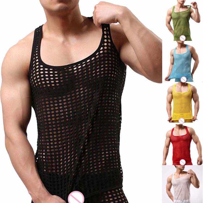 Mannen Tank Tops Mesh See-Through Visnet Bodybuilding Vest Mode Sexy O-hals Mouwloos Hemd Tops Tees