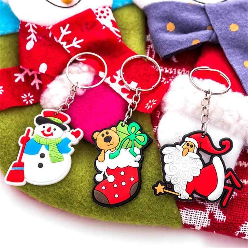 Chaveiro Anel Chave de Série Do Natal Dos Desenhos Animados Da Árvore de Papai Noel Boneco de Neve Chaveiro Bag Pingente Jóias Presente Para As Mulheres Homens Decoração