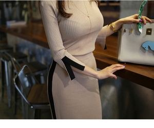 Image 3 - 2020 New spring Autumn Knitted two Piece Set Women Outfits Sweaters pullover Tops + high waist Long Skirt set ensemble femme